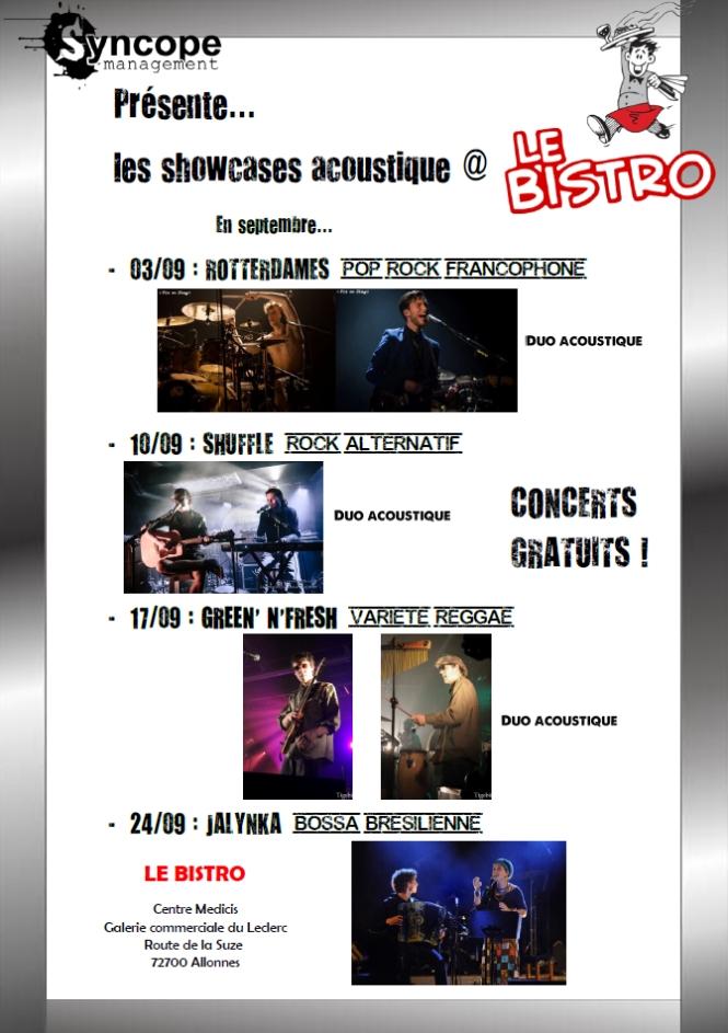 Prog septembre concerts Le Bistro